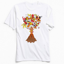 Cartoon Tshirt Funny Mens T-shirts Comic Doodle Tops & Tees for Adult O Neck Cotton Short Sleeve Christmas Gift White T Shirts