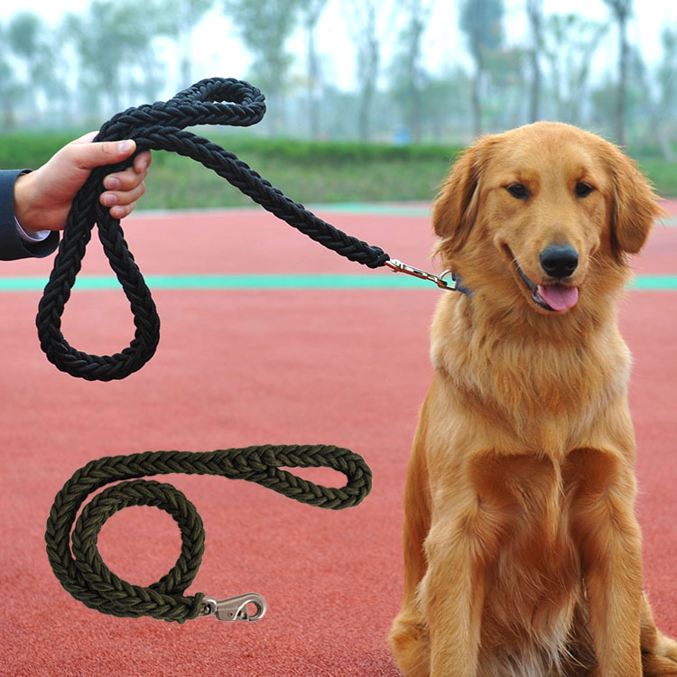 High Quality dourable black extra large big dog Braided nylon chain Leashes pitbull golden retriever Training Walk Rope leash
