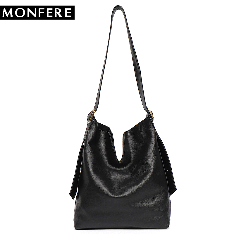 MONFERE Genuine Leather Hobo Handbags Women Classic Vintage Shoulder Leather Bag Casual Soft Black Tote Cross body Liner Purse monfere luxury handbags women shoulder bag large tote bags big hobo soft leather ladies cross body messenger bag for women 2018