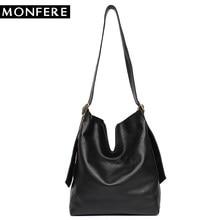 6c055c8ee047 Monfere из натуральной кожи Хобо Сумки Для женщин классический Винтаж плечо  кожаная сумка Повседневное мягкая черная