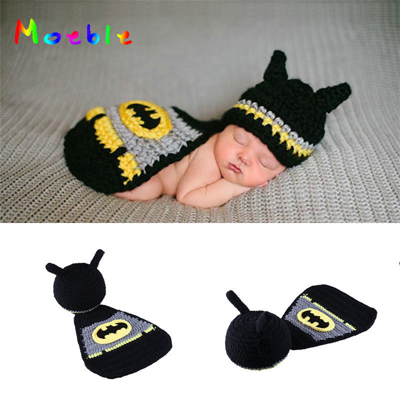 US $6 65 38% OFF|Newborn Batman Costume Crochet Baby Boys Photo Props  Knitted Baby Hat Cape Set for Photo Shoot Newborn Photography Props-in Hats  &