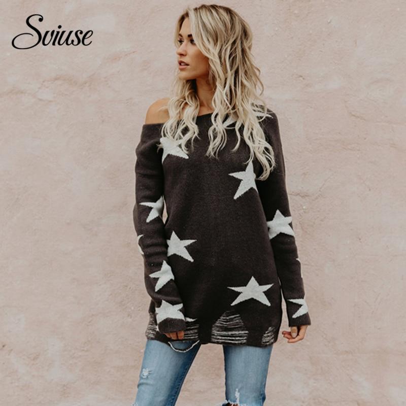 Suéter flojo de las mujeres Sexy del hombro estrellas de punto jerseys 2018 hembra coreana Harajuku Casual Streetwear suéteres largos