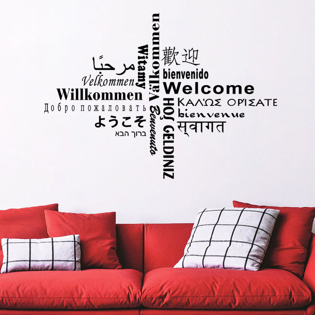 Dctop All Kinds Language Welcome Wall Sticker Text Creative Home