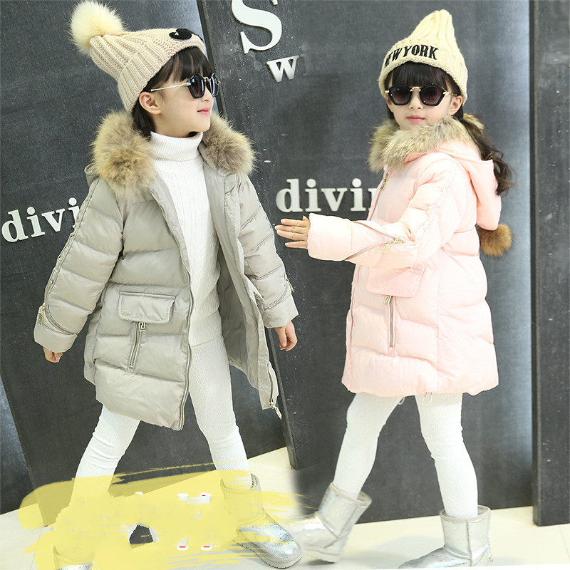 Brand Girls Duck Down Jackets For Cold Winter Children Thick Duck Down & Parkas Girls Fur Collar Outerwear & Coats -0 Degrees women winter coat leisure big yards hooded fur collar jacket thick warm cotton parkas new style female students overcoat ok238