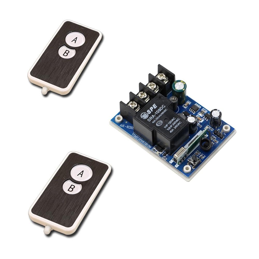 Smart Home DC12V 24V 36V 48V 1CH Wireless Remote Control Switch Relay Receiver Module and 2pcs RF Transmitter 315/433Mhz все цены