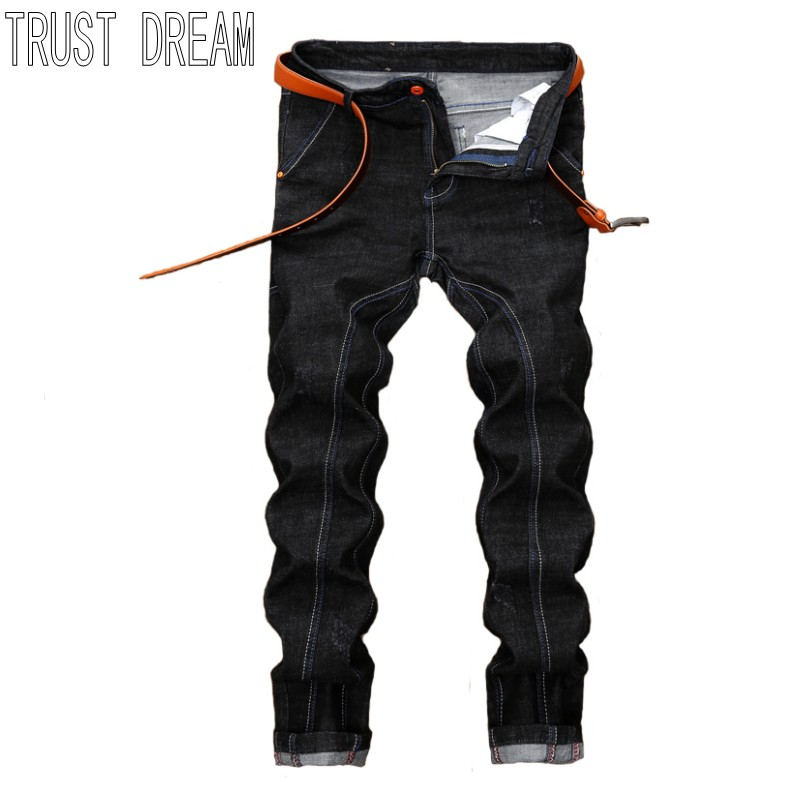TRUST DREAM Europeans Style Men Slim Spliced Black Jean Casual Man Fashion Street Personal Cargo Cottom Jeans l jean camp trust