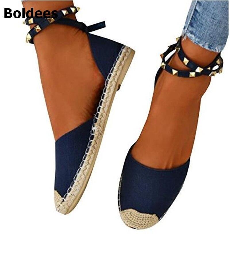Espadrille Women Canvas Flats Ankle Strap Hemp Bottom Rivets Fisherman Shoes For 2018 Spring/Autumn Women Loafers Plus size 44 все цены