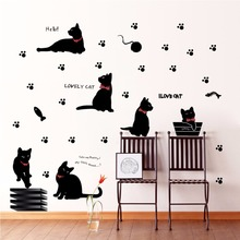 Vinyl Wall Stickers Black Cat Family