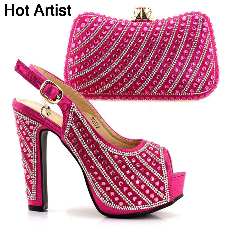 Hot Artist High Quality Italian Shoes And Purse Set Africa Style Fashion High Heel Shoes And Bags Set For Wedding Party TX-S2872