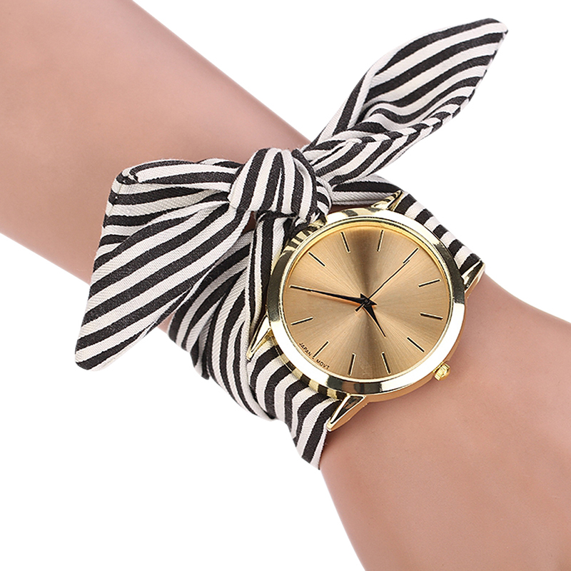 Fashion Striped Watch Kvinnor Casual Fabric Armband Klockor Bow Tie Ladies Watch relogio feminino klockor kvinnor