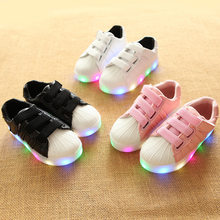 Children Sport Shoes Led Shell Shoes Air Mesh Tenis Shoes For Boys Girls Toddler Kids Sneaker 4T5T6T7T Chaussure Enfant Running(China)