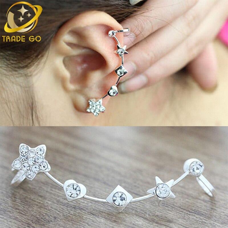 rhinestone clip on earrings no pierced ear cuff masculino star heart women hole jacket wrap earcuff brincos
