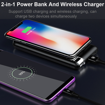 Baseus QI Wireless Charging Power Bank Charger For iPhone X 8 Samsung S9 S8 S7 Mobile Phone Powerbank Battery Wireless Charger  3