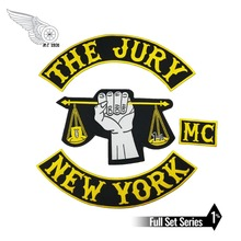 The Jury New York MC Motorcycle Biker Embroidered Iron On Back of Jacket Patch Black twill fabric DIY Eco-Friendly Free Shipping цена