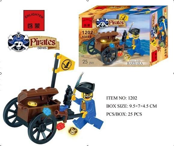 1202 25pcs Pirate Constructor Model Kit Blocks Compatible LEGO Bricks Toys For Boys Girls Children Modeling