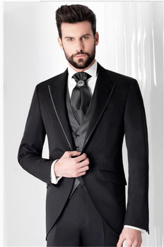 New Design Black Tuxedos Groom Wedding Suits For Men Formal Tailcoat Evening Party Prom Man Blazer Costume Homme Mariage 3pcs