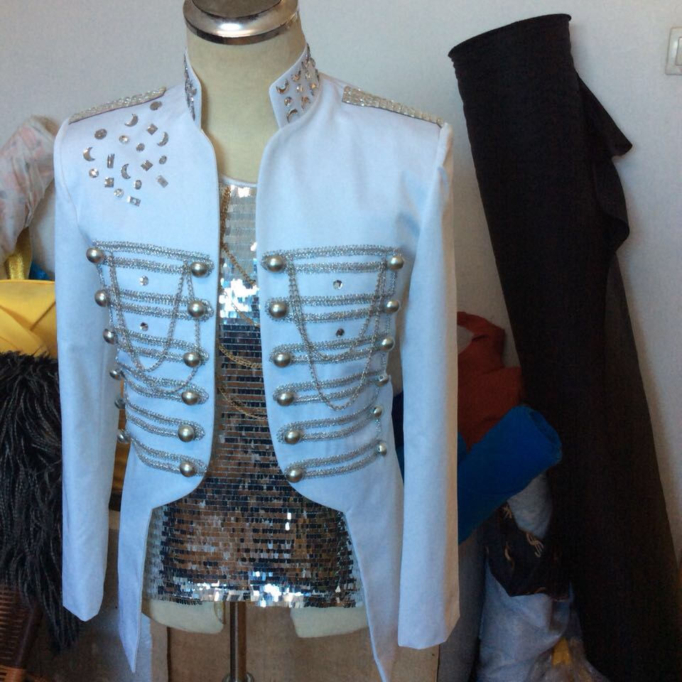 New White Fashion Mens Royal chain Jacket suit costumes Nightclub bar singer show performance coat male outfit costumes
