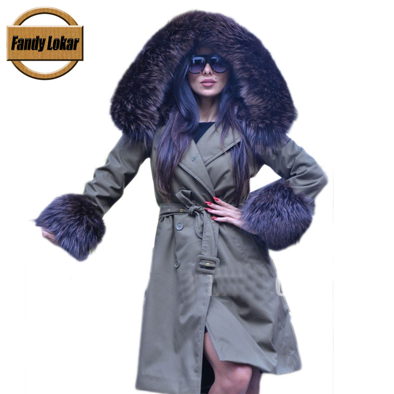 Green Fox Fur Collar Hooded Coat With Belt Women Winter Real Rex Rabbit Fur Liner Warm Jacket Women Fur Parka Female FP10261 printed long raccoon fur collar coat women winter real rabbit fur liner hooded jacket women bomber parka female ladies fp896