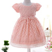 Brand New Baby Infant Lace Flowers Beaded Princess Dress Girls Newborn Party Birthday Dresses For Spring