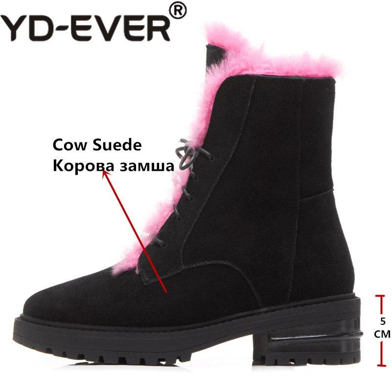 Noir Yd Suede Femmes Chaussures Lace Hauts Talons Moto Up Qualité Neige Nouveaux Femme rose Vache D'hiver ever Haute Chaud Bottes USzrUw1R