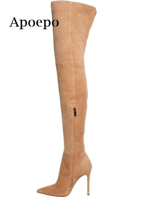 New Brand 2018 Hot Selling Pointed Toe Over the Knee Boots Woman Sexy Thigh high boots high heel long boots 35-42 hot selling black leather pointed toe long boots over the knee thigh high boots sexy tight high women shoes free shipping