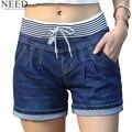 2017 Casuais Shorts De Cintura Alta Mulheres Shorts Jeans de Cintura Alta Elástico Na Cintura Shorts Jeans Plus Size
