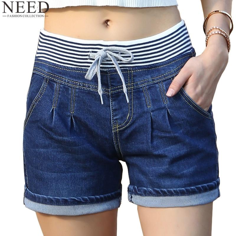 2018 casual high waist shorts women high waisted denim shorts elastic waist jeans shorts plus. Black Bedroom Furniture Sets. Home Design Ideas