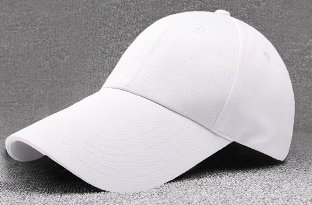 f52cb5532fba6 30pcs Men Long Bill 11cm Blank White Cotton Baseball Caps for Summer Women  Black Base Ball StrapBack Cap Wholesale Plain Hats