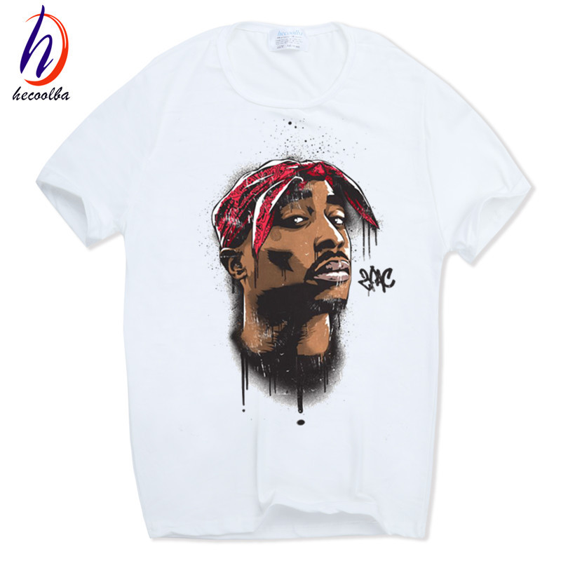 Hecoolba 2017 Männer druck tupac 2pac T-shirt kurzhülse Oansatz Weiß T-shirt Hip Hop Swag harajuku Streetwear t-shirt HCP287