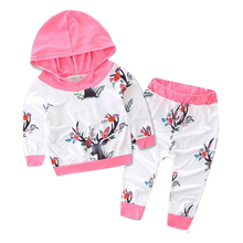 LONSANT Newborn Infant Baby Girl Clothes Deer Print Hoodie Tops+Pants Outfits Clothes Cotton Roupa Infantil Menina Dropshipping