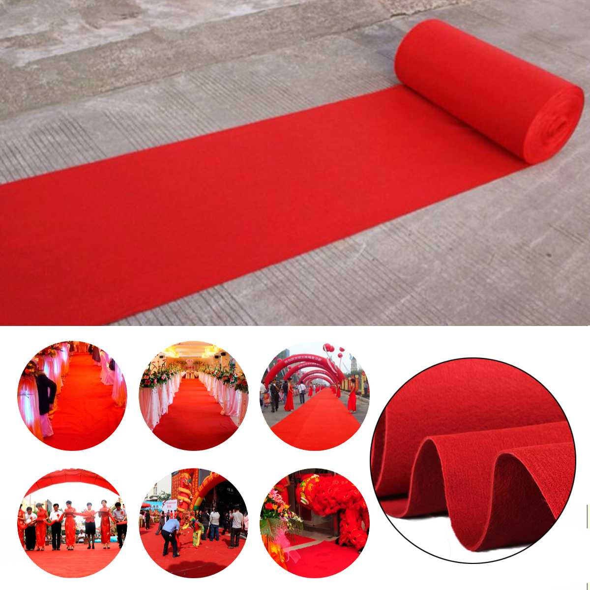 1.5/5/10/12m Outdoor Red Carpet Mats Aisle Wedding Banquet Film Festivals Parties Celebrations Awards Events Decoration Carpet