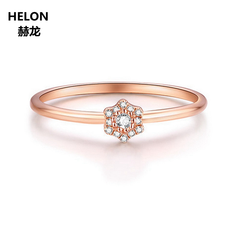 Solid 14k Rose Gold Natural Diamonds Engagement Ring for Women Wedding Anniversary Party Fine Jewelry Stars Unqiue Classic