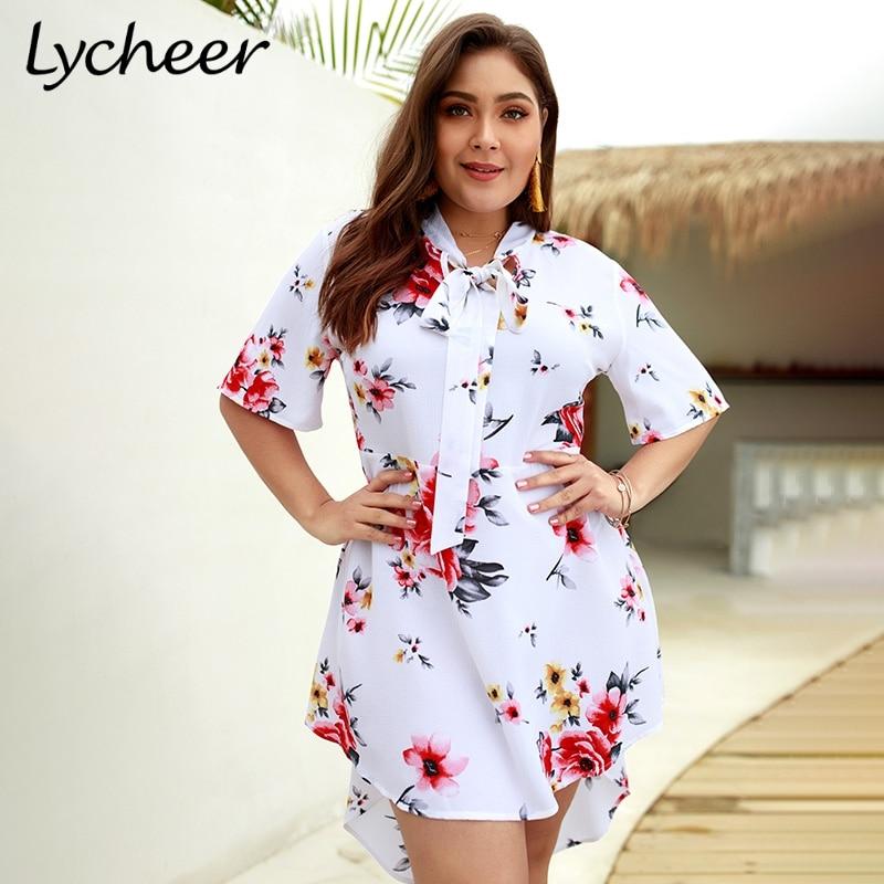 ed29f5ef69e Lycheer Plus Size Boho Elegant Big Size Floral Print Women Mini Dress Short  Sleeve Bohemian Summer
