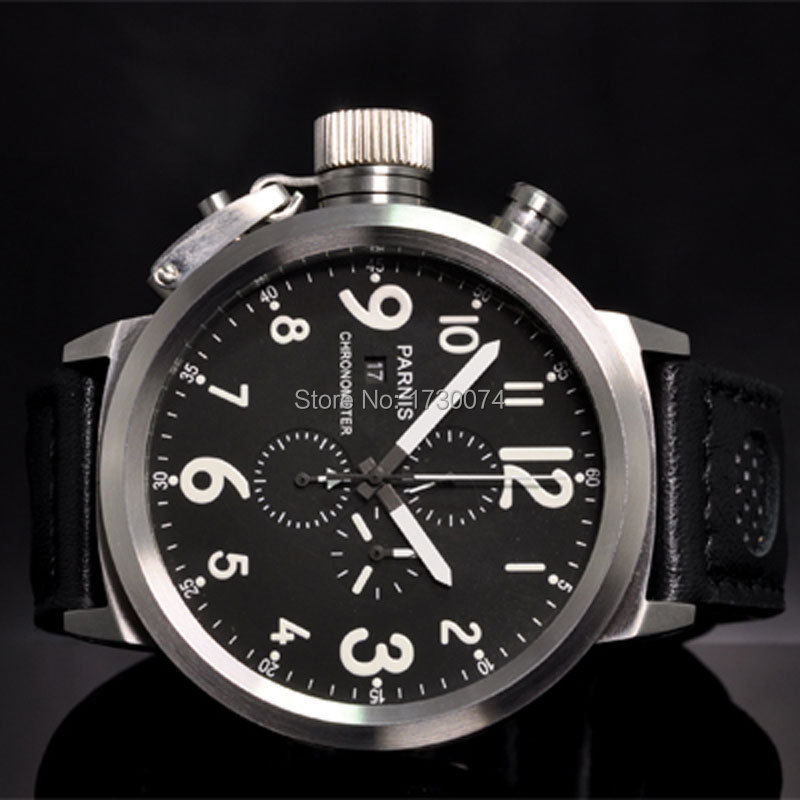 50mm PARNIS men's watch black dial white marks Left crown leather strap Full chronograph quartz movement wrist watch P34