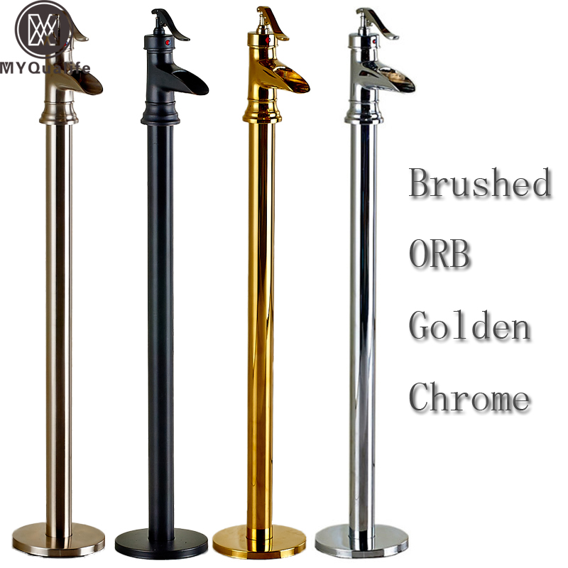 Bathroom Floor Mount Brass Freestanding Bathtub Filler Bath Tub Faucet in Chrome/golden/brushed nickel/Oil Rubbed Bronze
