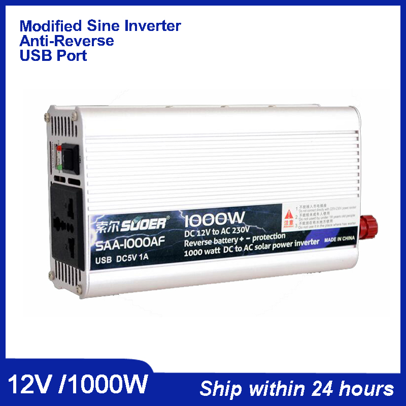 1000W Solar System Inverter DC 24V to AC220V Power Inveter wiht 5V USB port for iPhone/Anti-Reverse Power Inverter 300W Power maylar 22 60vdc 300w dc to ac solar grid tie power inverter output 90 260vac 50hz 60hz