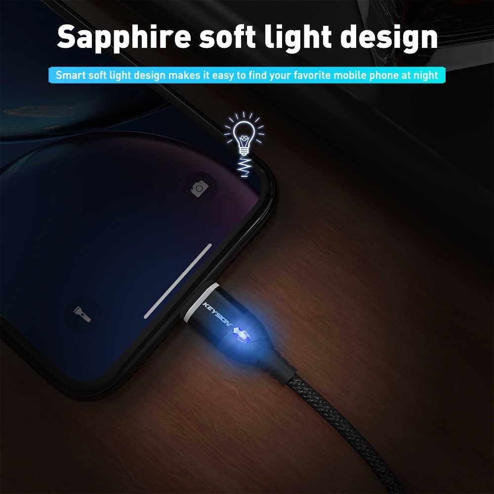 KEYSION 3A كابل USB مغناطيسي ل فون المصغّر usb نوع C كابل سريع شحن المغناطيس شاحن مايكرو كابل usb لسامسونج Xiaomi