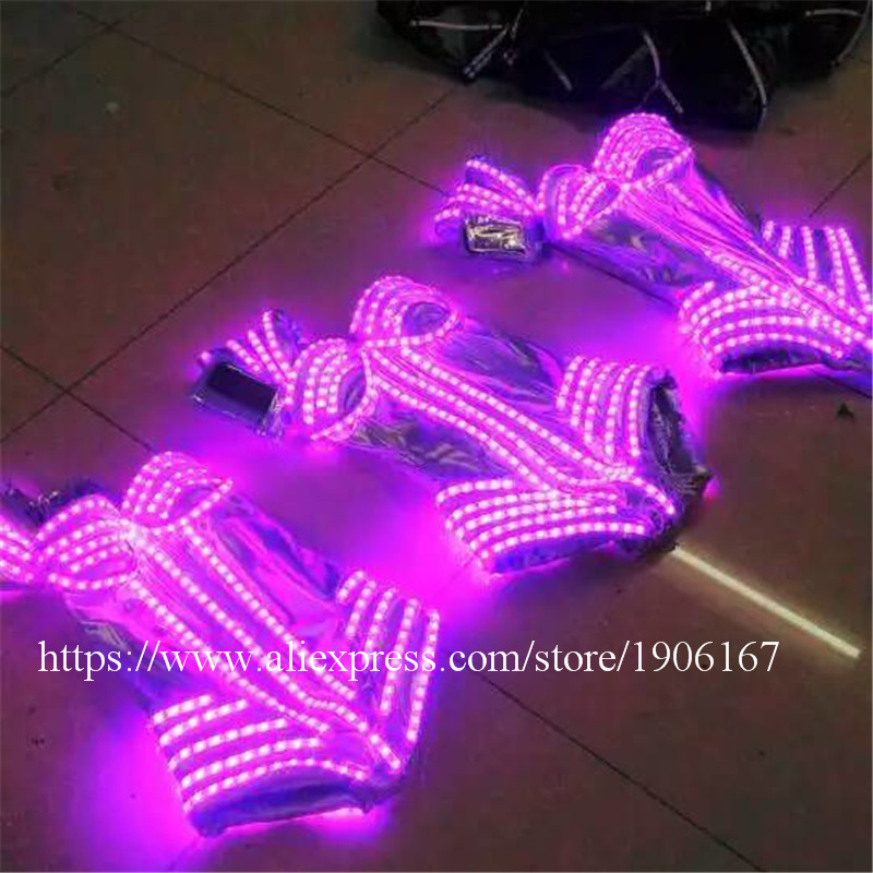 7 Colors Led Light Luminous Flashing Growing Costume Halloween Dance Suit Sexy Lady dress1