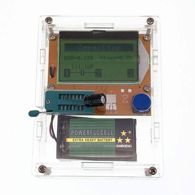 2016 Novo LCD 12864 LCR Mega328 Transistor Tester Diode Triode Capacitância ESR Medidor + case (não Bateria)