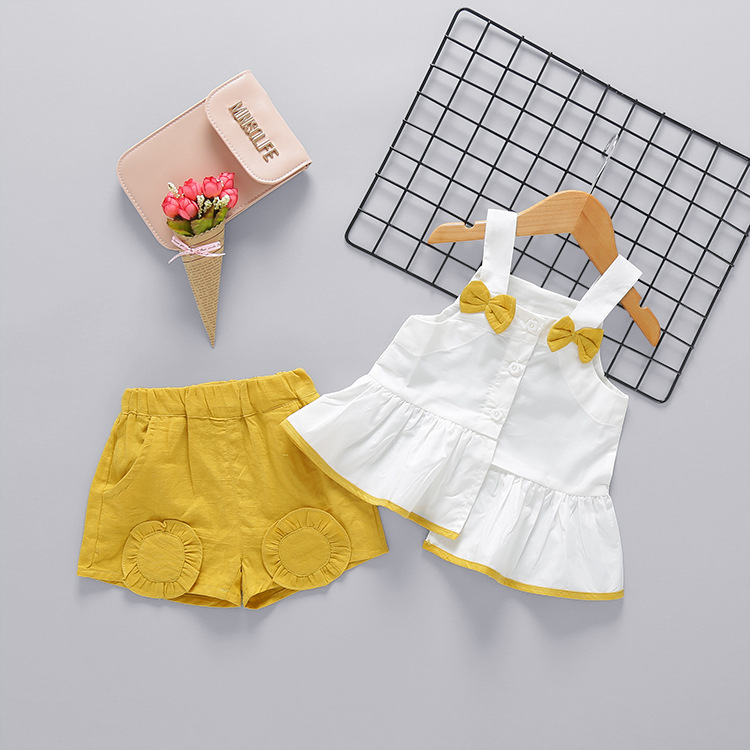2017 new summer newborn girl clothing set Halter top+pants 2pcs baby clothes suit bow infants girls outfits for toddler sets ...