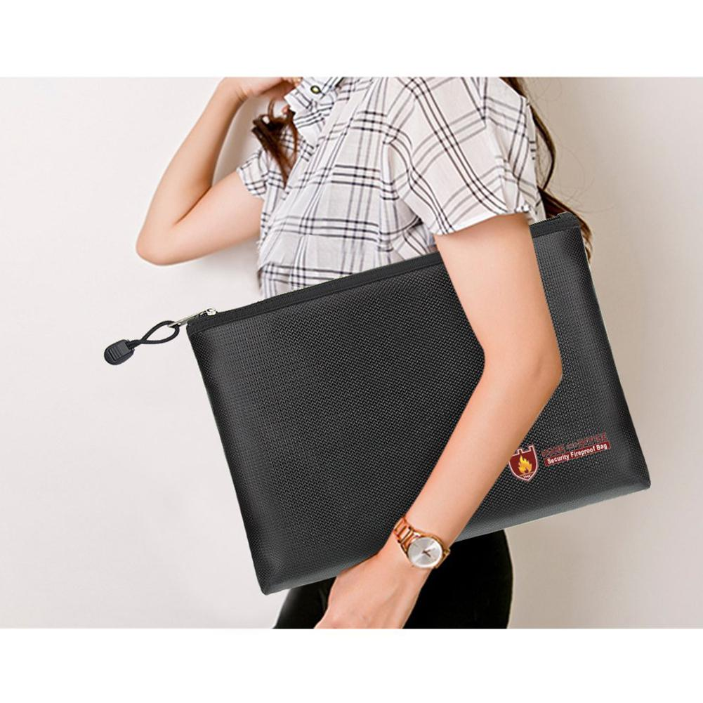 Adeeing Zipper Document Bag Fireproof Liquid Silicone Documents Bag With Zipper Protective Case For Files Storage D20