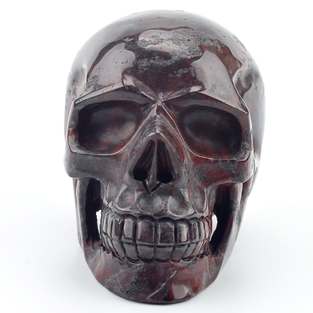 5.2''Engraved Natural Blood Stone Crystal Skull Statue Realistic Healing Gemstone Carving Rock Quartz Crystal Skull Home Decor