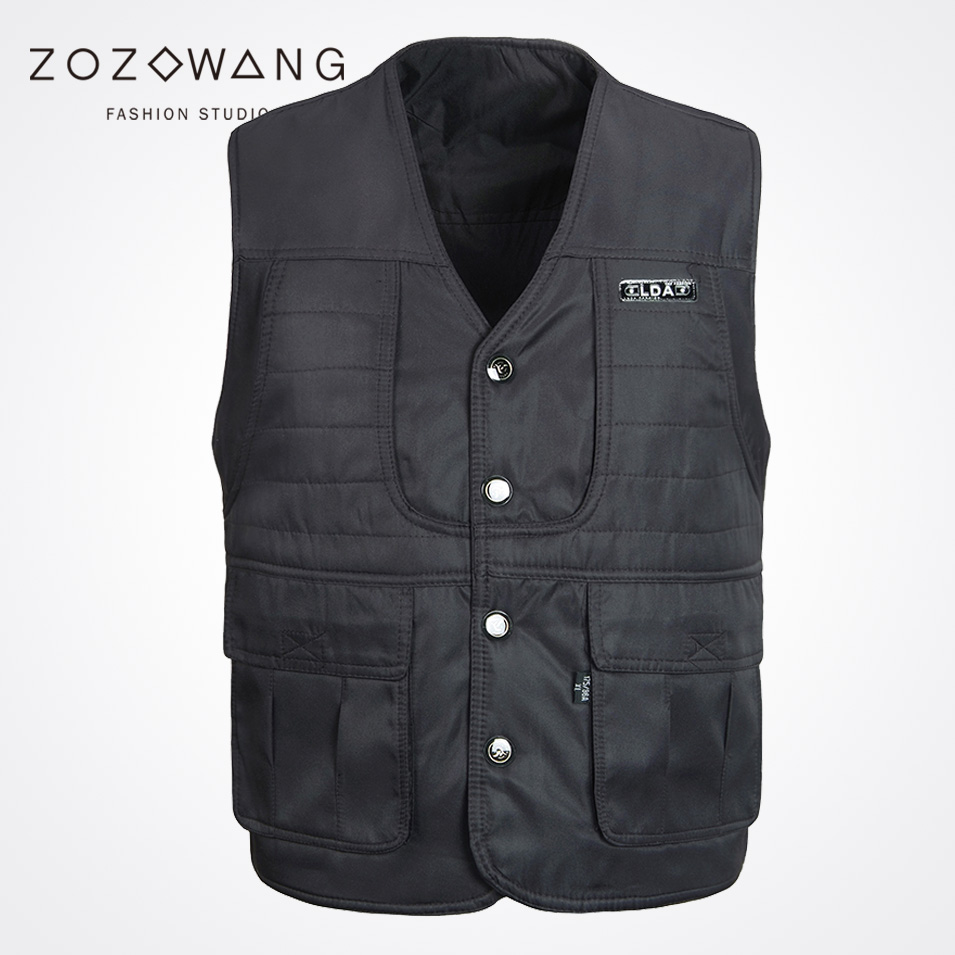 Zozowang solid new casual short spring summer autumn fashion loose Single Breasted waist coat men black V neck vest men in Vests amp Waistcoats from Men 39 s Clothing