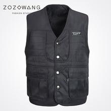 Zozowang solid new casual short spring summer autumn fashion loose Single Breasted waist coat men black V-neck vest men цена