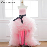 Vinca sunny Pink Tulle Strapless Off The Shoulder Sleeveless High Low Prom Dresses 2018 Evening Gowns Vestido De Festa with