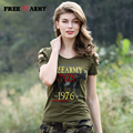 2017 Summer T-Shirt Women Short Sleeve T Shirts Female Print Hollow Leakage Shoulder  Hot Army Green O-Neck Fashion Tops Gs-8515