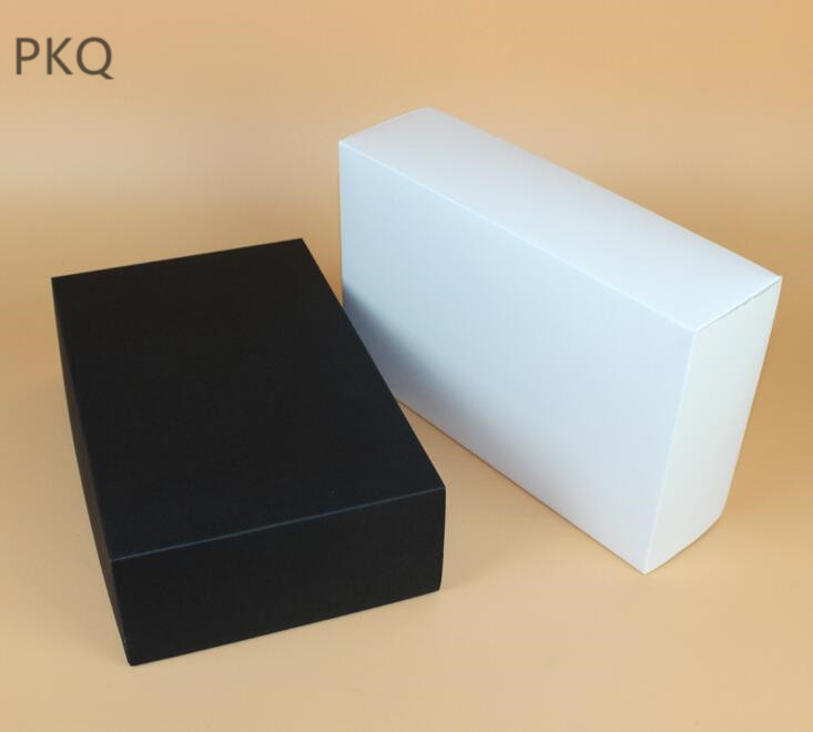 10pcs White paper gift packaging box black carton paper gift box with lid cover wallet tie