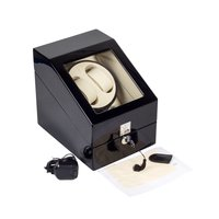 Black Wooden Watch Box US UK Plug Automatic Electric Rotary Rotating Watch Winder Display Box Piano