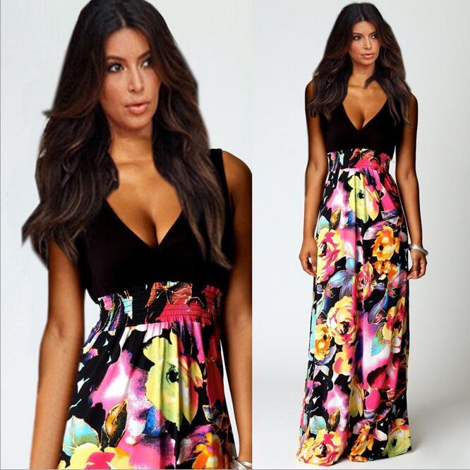 Queechalle letní šaty výstřih bez rukávů tisk šifon dlouhé šaty ženy plážové boho maxi šaty černá barva žen vestido S-XL