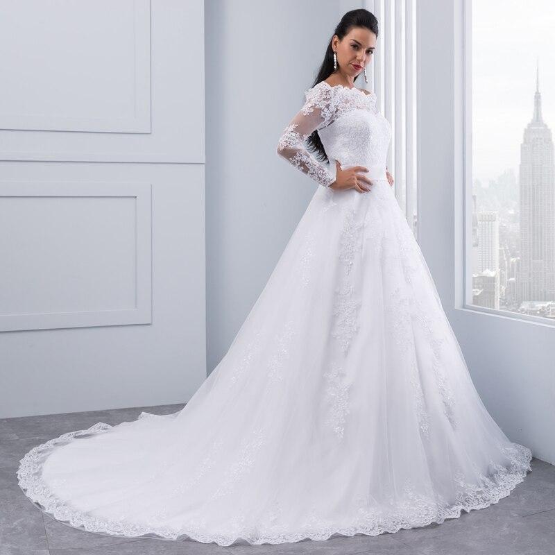 Miaoduo Vestidos De Novia 2019 Long Sleeve Lace Wedding Dress Ball Gown Wedding Dresses Robe De Mariage Bridal Gowns bruidsjurk-in Wedding Dresses from Weddings & Events    3